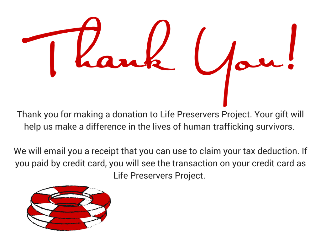thank you for your donation  life preservers project